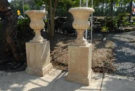 golden travertine solid marble hand carved urn or planter with