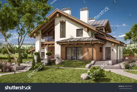 3d rendering modern cozy house chalet stock illustration 608753492