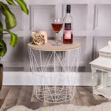 wire and wood basket side table white metal wire side table basket storage coffee loft furniture