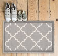 Kitchen Rugs With Rubber Backing Dallas Moroccan Trellis Grey And White Casual Modern Trellis Mat