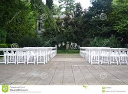wedding ceremony seating outdoor wedding ceremony seating during the springtime stock photo