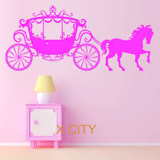 online get cheap princess wall decal aliexpress com alibaba group horse and carraige princess fairy girls cinderellas vinyl wall decal art decor sticker children kids bedroom