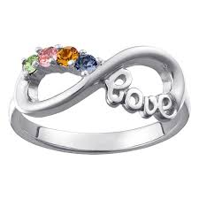 family birthstone rings sterling silver infinity birthstone ring 4 stones 39564