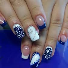 two colors nail design nail art blue color nails and white nails
