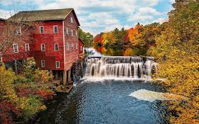 Wisconsin travel wallpaper images Usa wisconsin water mill river waterfalls trees autumn jpg
