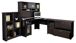 bush cabot 4 piece l shape computer desk office set in espresso