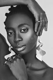 black girl earrings beautiful black girl with big earrings stock photo image of