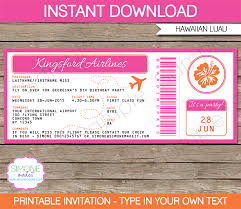 luau boarding pass invitations template passaporte e festa