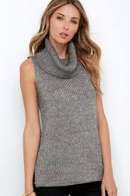 cowl sweater chic grey sweater cowl neck sweater sleeveless sweater 59 00