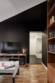 compact polish apartment with contrasting black and white accents