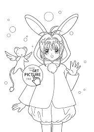 sakura anime coloring pages for kids printable free coloing
