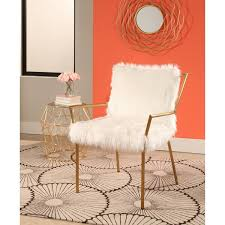 Overstock Armchair Abbyson Jessica Gold Stainless Steel Faux Fur Armchair Free