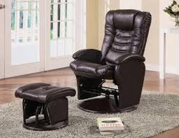 Glider Recliner With Ottoman For Nursery Coaster Swivel Glider Recliner Ottoman Brown Leatherette