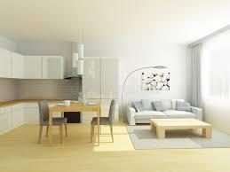 cuisine de studio cuisine de studio et salon plats dans des couleurs gris clair et