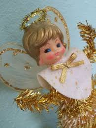 Christmas Decorations Angel Hair vintage angel tree topper gold wings spun glass angel hair 1940s