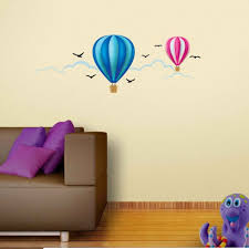vibrant hot air balloon ride wall decal for kids