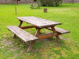 Plans For Picnic Table With Attached Benches by How To Build A Wooden Table Bench Ebay