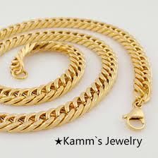 necklace gold chain design images Online shop 600 8 mm fashion simple design gold color flat curb jpg