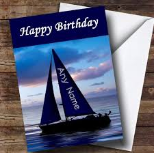 sailing boat name on sail funny personalised birthday card the