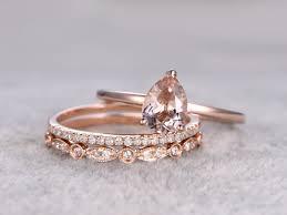 plain engagement ring with diamond wedding band 3pcs morganite bridal ring set engagement ring plain gold