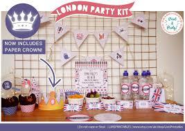 Union Jack Home Decor Chic London Themed Party Kit Digital Diy Printable Suite