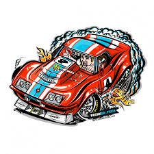 Long Sleeve Baseball Rod Cartoon 1968 Corvette Race Car T