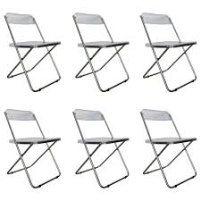 six folding vintage transparent lucite chrome italian chairs by