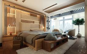 bedroom concrete accent wall with recessed lighting also modern