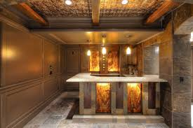 stunning basement home bar with luxury ceiling and floor design