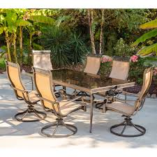Sling Patio Dining Set - monaco 7 piece dining set with six sling back swivel rockers and