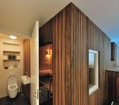 wood clad appearance basement spa wellness cozy stylish interior