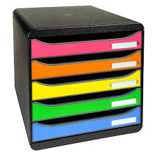 bloc de classement bureau exacompta big box plus 5 tiroirs arlequin module de