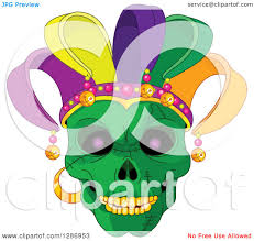 mardi gras skull mask clipart of a green mardi gras skull with a jester hat royalty free