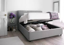 serenity upholstered ottoman storage bed cool grey king size
