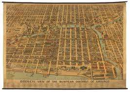 Birds Eye View Map Magnificent Bird U0027s Eye View Of Downtown Chicago Rare U0026 Antique Maps