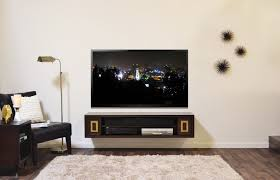 tv shelf design wall mounted black wooden tv shelves mixed smoky white fur rug and