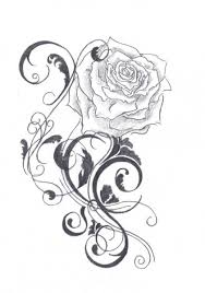 cross with vine red roses flower tattoo drawing art and beautiful