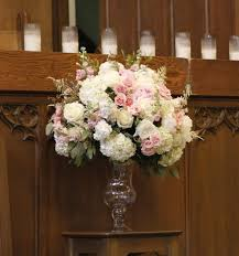 white flowers with accents in place of the pink blooms here