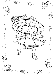 strawberry shortcake coloring page playing hula hoop cartoon
