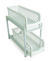 under sink storage tidy amazon co uk kitchen home ideaworks portable 2 tier basket drawers white amazon co uk