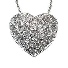 necklace with diamond heart images 1 4 carat pave set diamond heart pendant in white gold jpg