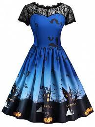 halloween vintage lace insert pin up dress royal blue print