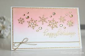 little crafty pill christmas card golden snowflakes inlay