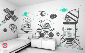 e glue baby nursery wall stickers monkey outer space theme kids wall decals pack