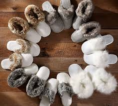 Mens Duvet Slippers Faux Fur Slippers Pottery Barn