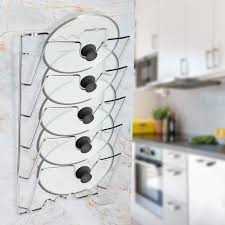 wall hung kitchen cabinets acouto wall door mounted kitchen cabinet storage rack holder for pot pan lids pot lid rack