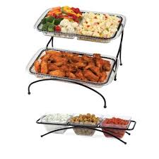 creative bath 2 tier buffet server with 3 bowl condiment server