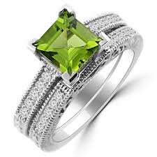 peridot engagement rings princess peridot diamond matching engagement ring set vintage