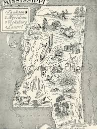 Jackson Ms Map 1950s Mississippi A Delightfully Amusing Original Vintage Map