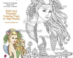 mermaid seahorse printable coloring pages fairy tangles